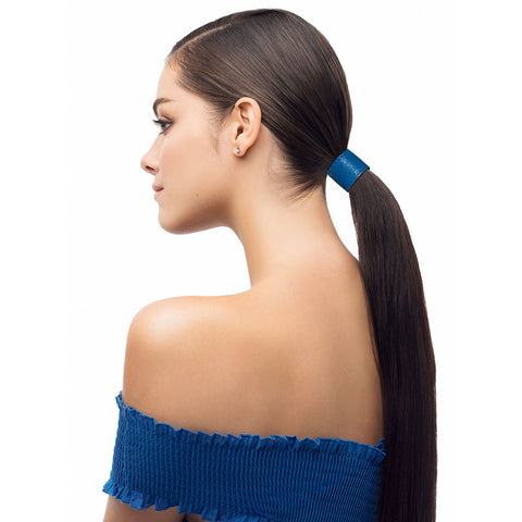 designertails leather ponytail accessory in runway blue