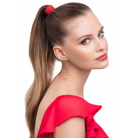designertails leather ponytail accessory in very berry red