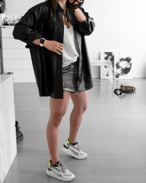 Annette in Vegan leather belted overshirt jacket