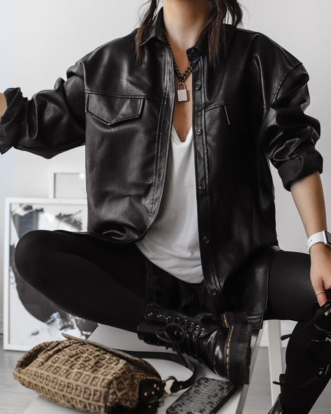 Annette Tang in The Dallant Vegan leather belted overshirt jacket