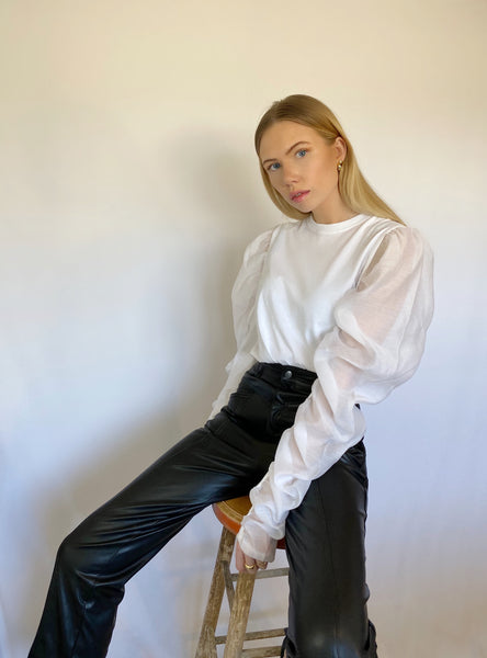 Mira Treece wearing The Dallant Sheer puffsleeve top