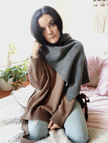 Carolina Malis in The Dallant turtleneck sweater and mock sweater scarf
