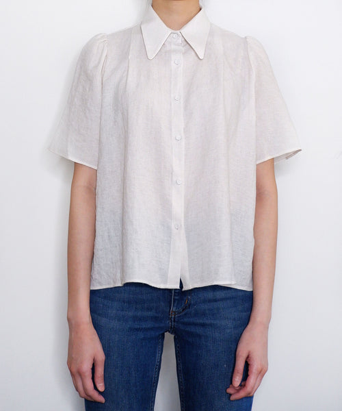 Pointed collar short sleeve linen blouse | The Dallant | Korean fashion