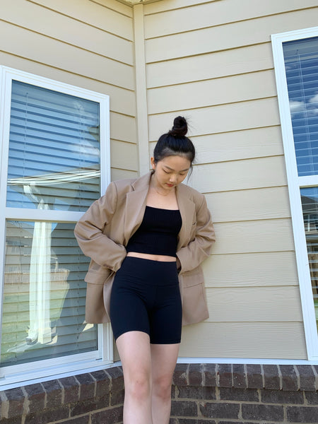 Youjin Kim wearing The Dallant Super Oversized Blazer in Beige