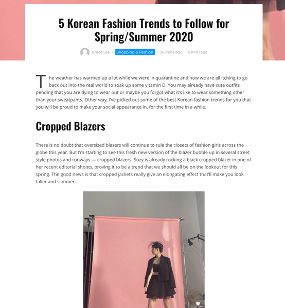 5 Korean Fashion Trends to follow for Spring/ Summer 2020