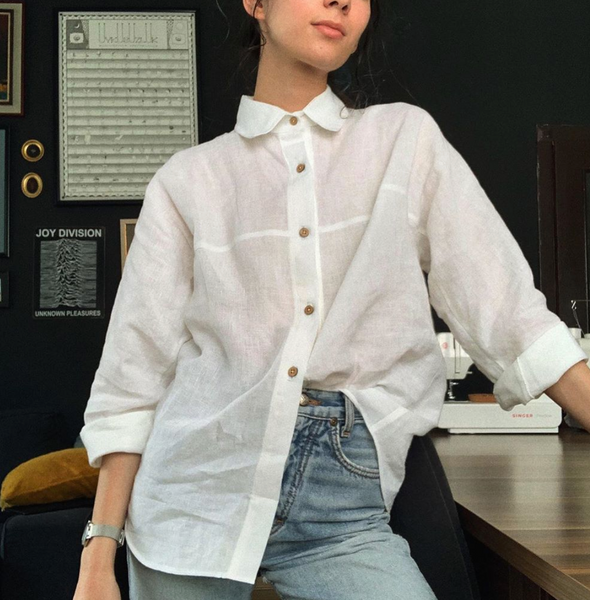 collared button down linen blouse | the.social.fabric | the dallant | high-end fashion clothes for women