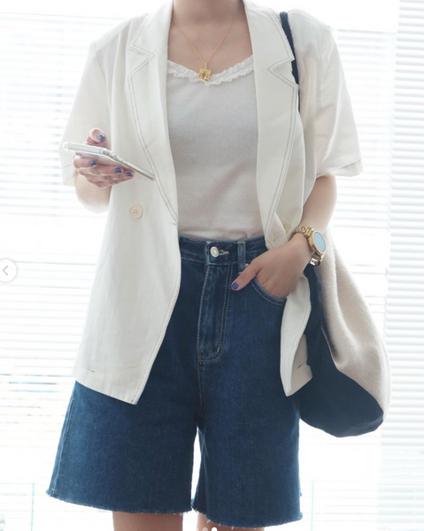 short sleeve linen blouse | phuong_dan_nguyen | The Dallant | High-end fashion clothes for women