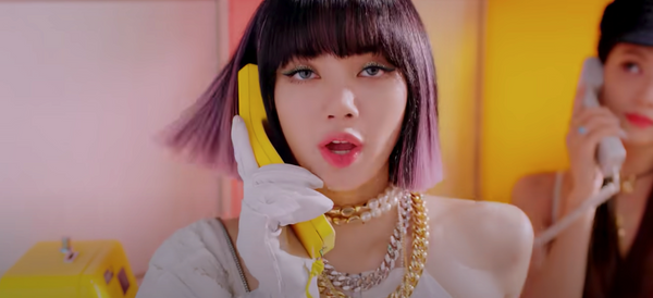 "Lisa wearing gold and silver chain necklaces and a pearl choker in ""Ice Cream"" MV"