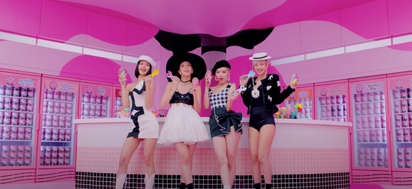 "BLACKPINK wearing black and white outfits in ""Ice Cream"" MV"