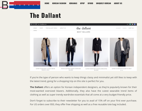 Best websites to see korean fashion trends - The Dallant