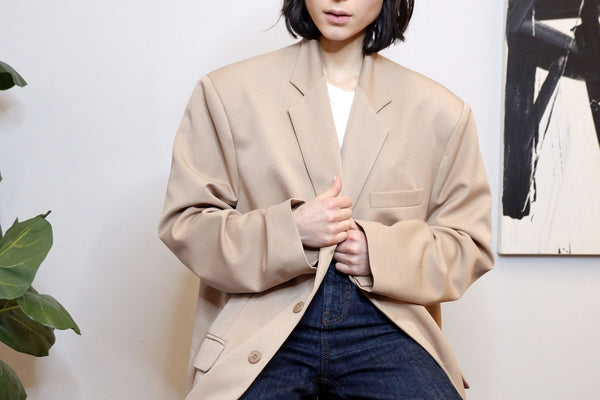 Super Oversized Blazer in Beige | The Dallant | Korean Fashion Designers Online Shop