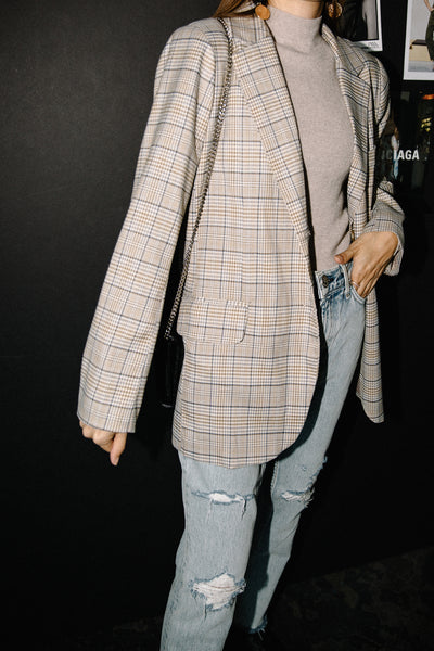 Miré in Classic Beige Checked Blazer