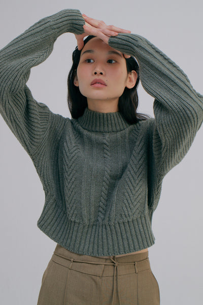 WNDERKAMMER cable knit cropped sweater | The Dallant