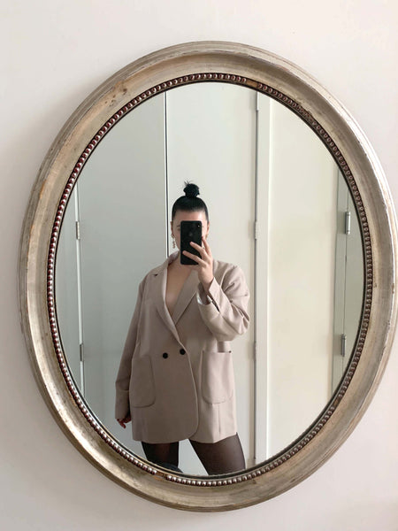 Brooklynn Gallagher in The Dallant Beige Oversized Boyfriend Blazer