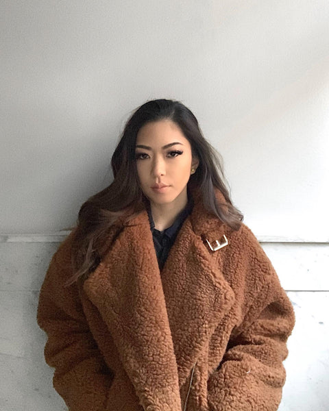 Minori Kawachi in The Dallant Oversized Teddy Moto Coat