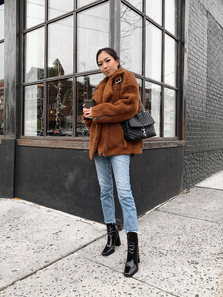 Minori in Teddy brown sherpa moto coat | The Dallant