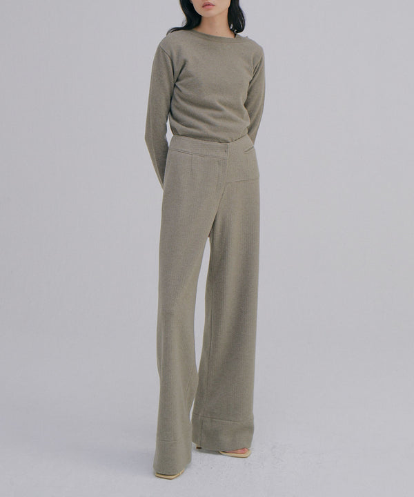 Asymmetrical cashmere-blend sweater in oat | WNDERKAMMER | The Dallant | Korean fashion designers