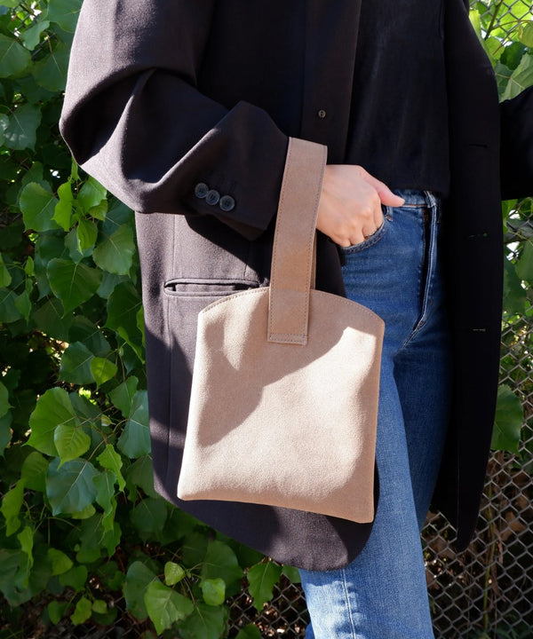 Beige Mini Wristlet Hand Tote - The Dallant