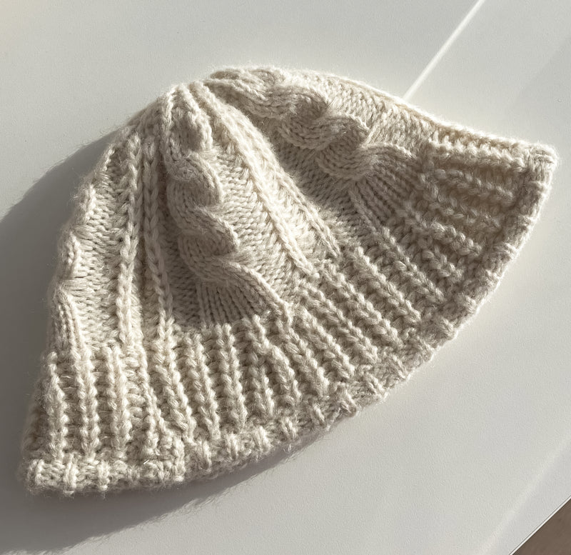 Cable knit bucket hat in cream | The Dallant | Korean Independent Designers