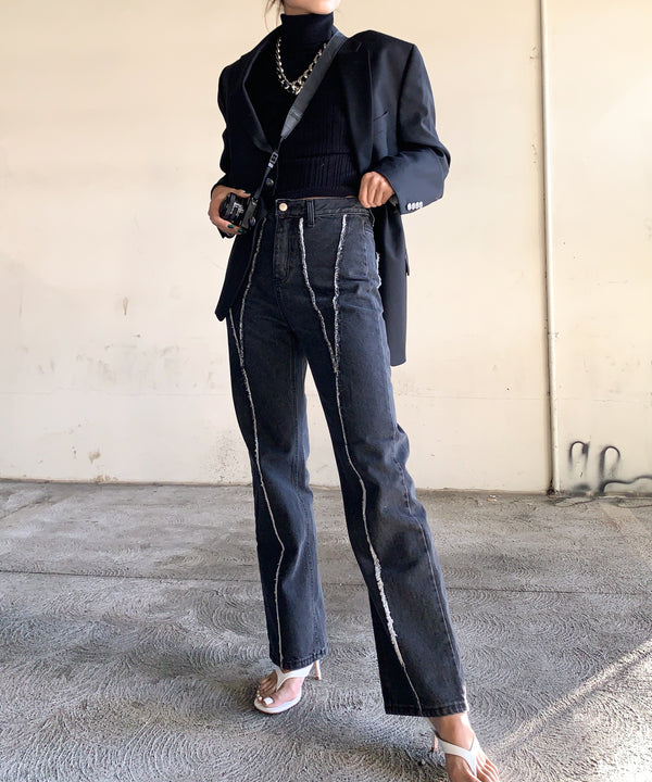 Contrast stitch high-waisted relaxed jeans | The Dallant | Korean Independent Designers