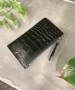 Croc-effect patent leather cardholder - The Dallant