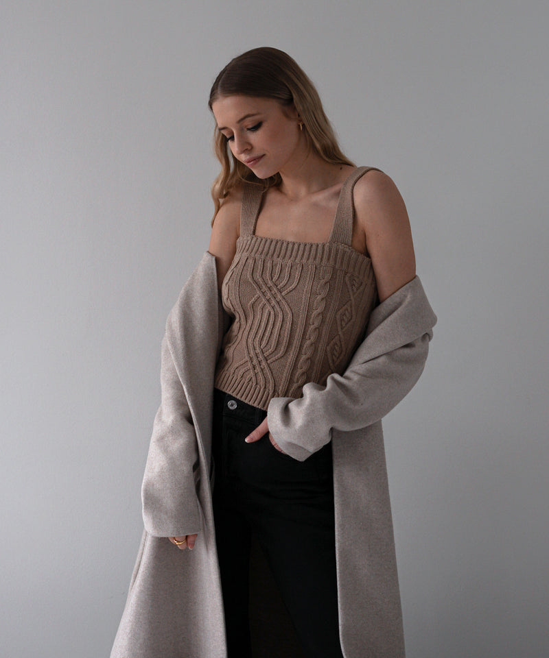 Cropped cable knit tank top in caramel | The Dallant | Korean Independent Designers