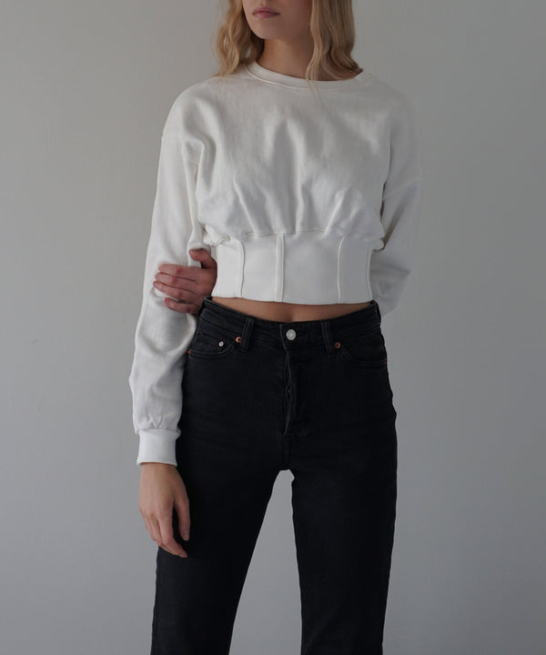 Cropped corset sweatshirt in cream | The Dallant | Korean Independent Designers