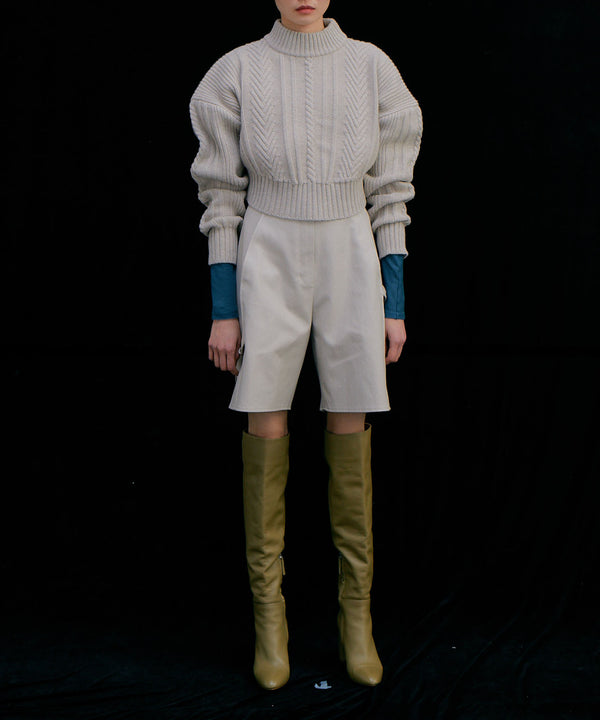 Cropped cable knit sweater in light beige | WNDERKAMMER | The Dallant | Korean Fashion Designers