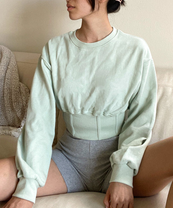Cropped corset sweatshirt in pistachio - Mint - Women's Tops - The Dallant