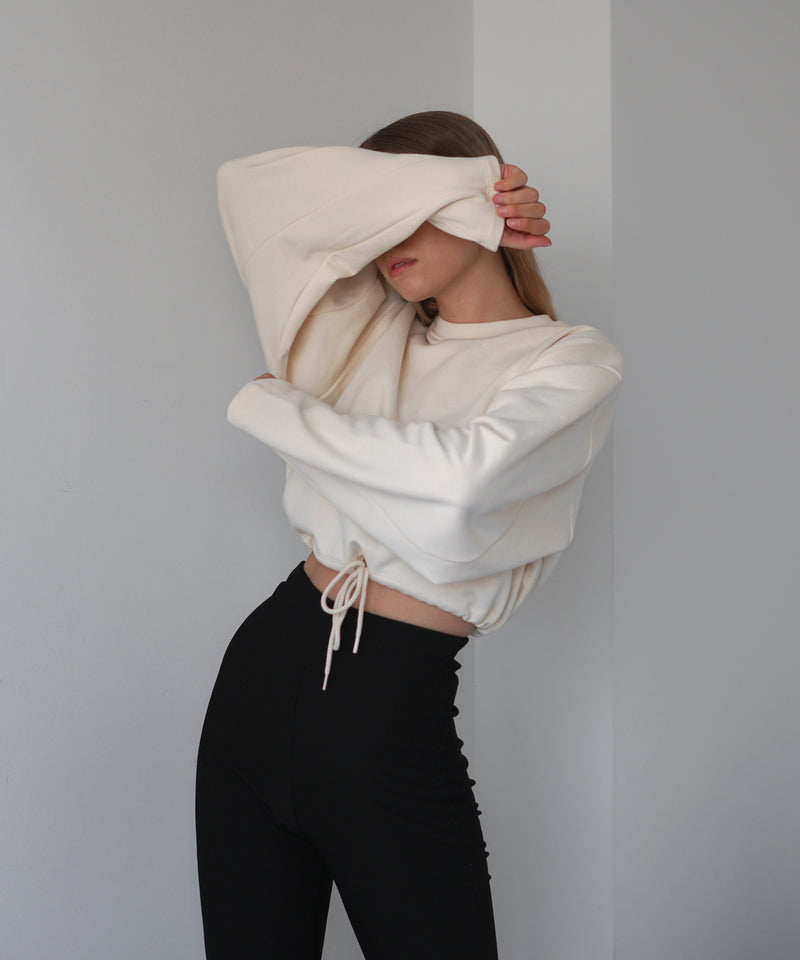 Cropped volume sleeve drawstring sweatshirt | The Dallant | Korean Independent Designers