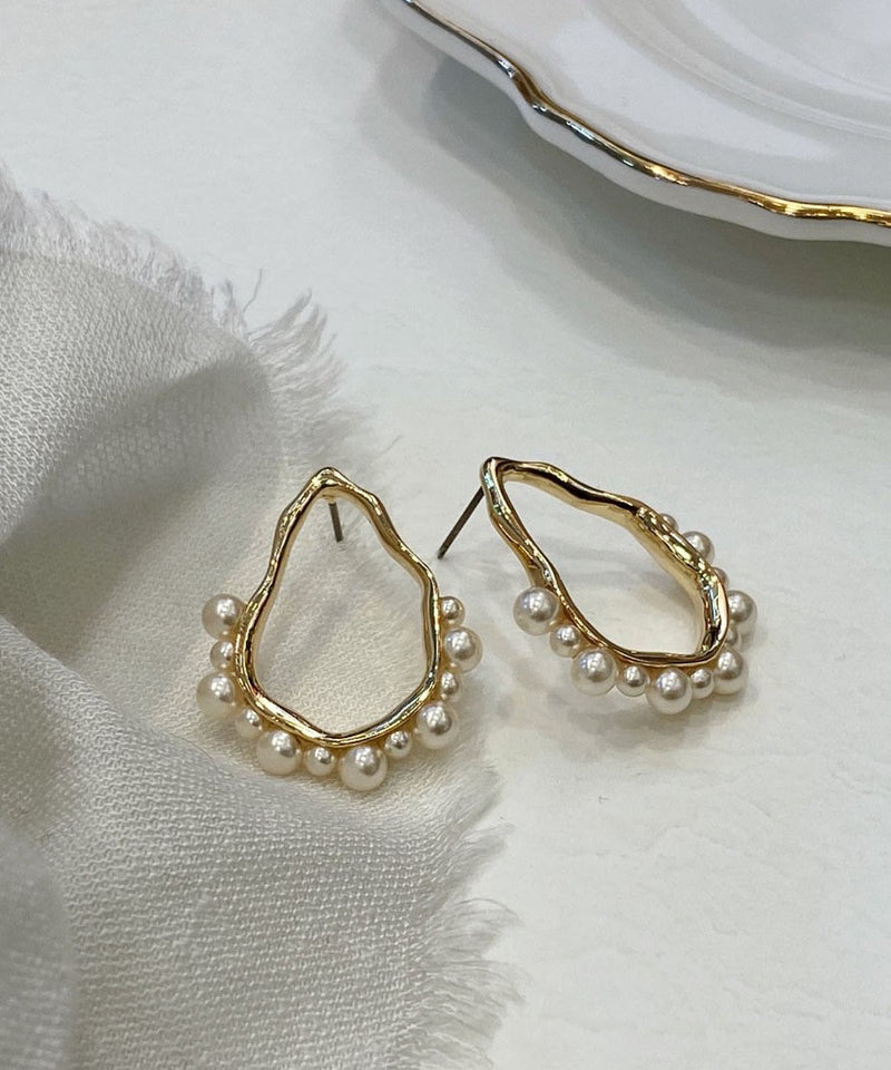 Faux pearl hoop gold statement earrings
