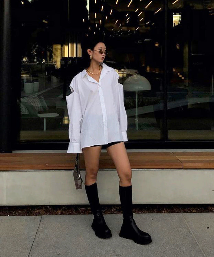 Oversized cutout cotton-blend shirt