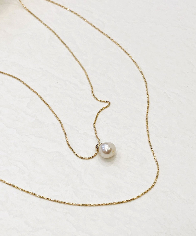 Layered dainty faux pearl gold necklace