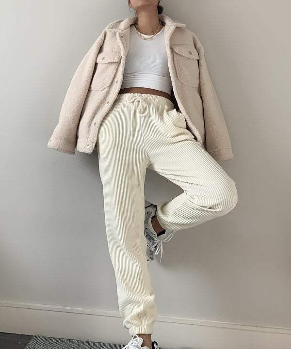 Luxe velvet corduroy joggers in vanilla | The Dallant | Korean Independent Designers