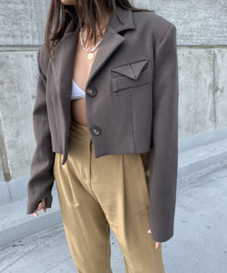 Oversized cropped blazer in cacao