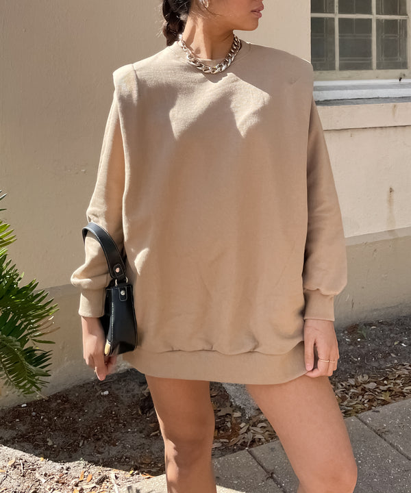Oversized padded shoulder sweatshirt in caramel | The Dallant | Korean Independent Designers