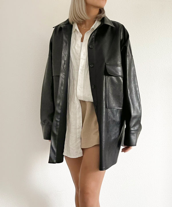 Oversized vegan leather shirt jacket | The Dallant | Korean Independent Designers