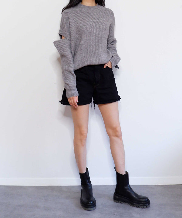 Oversized cut-out sleeve sweater | The Dallant | Korean Fashion Designers
