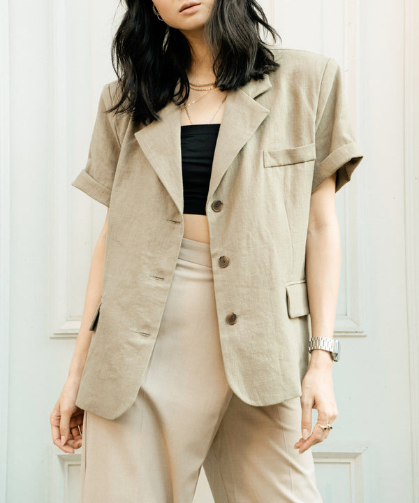 Oversized short sleeve linen blazer