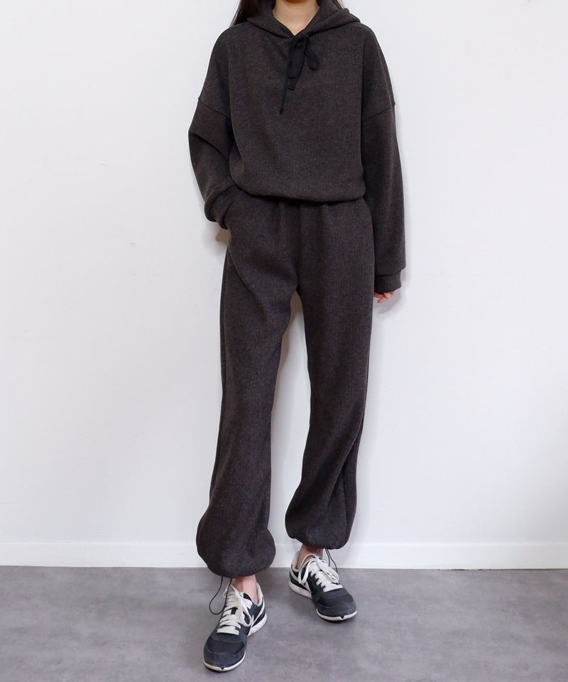 Oversized structured knit sweatsuit set in charcoal