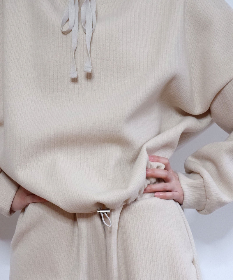 Oversized structured knit sweatsuit set in oat