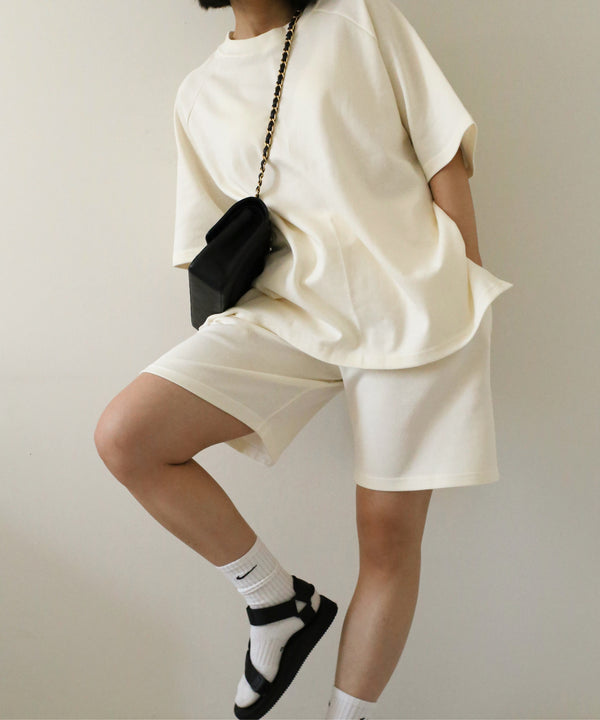 Oversized sweatsuit shorts set in cream - Ivory - Cotton - The Dallant