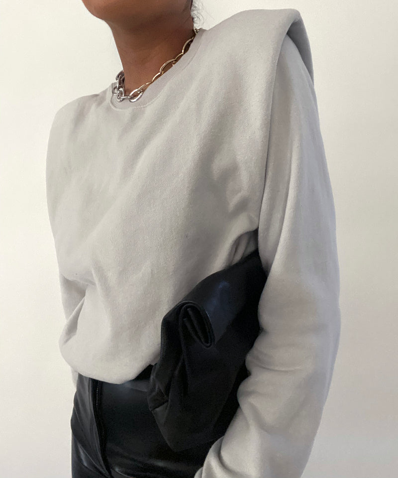 Padded shoulder crewneck sweatshirt in dove