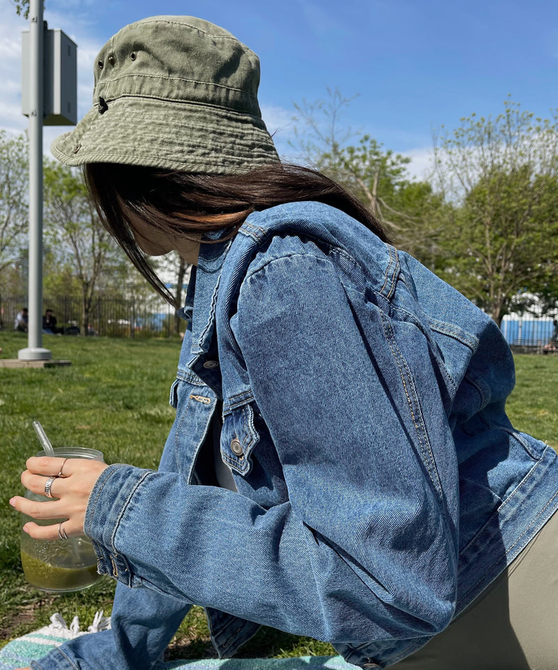 Padded shoulder denim jacket