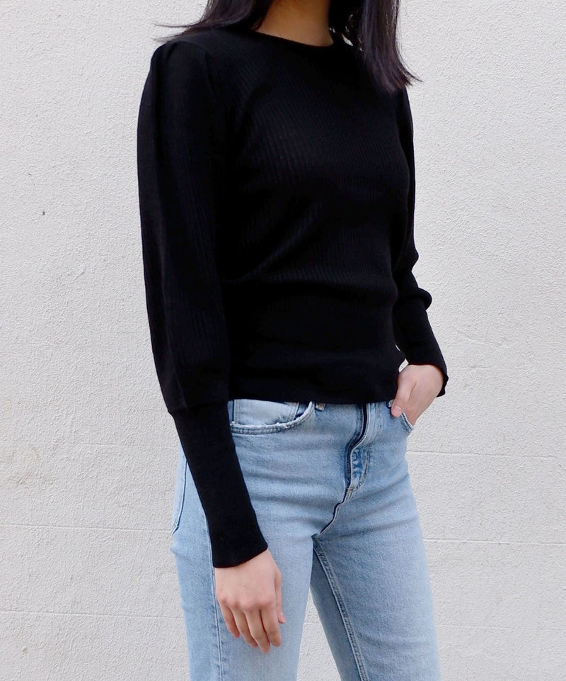 Puff sleeve ribbed top - The Dallant