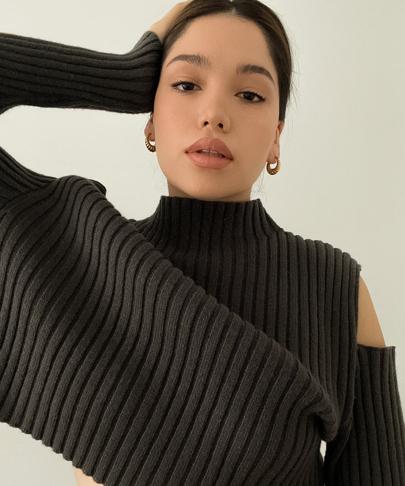 Ribbed mock-neck cutout sleeve sweater | The Dallant | Korean Independent Designers