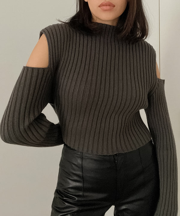 Ribbed mock-neck cutout sleeve sweater | The Dallant | Korean Independent DesignersRibbed mock-neck cutout sleeve sweater | The Dallant | Korean Independent Designers