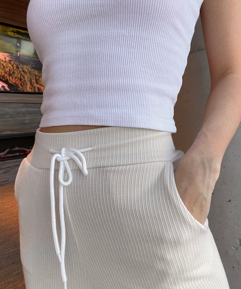 Ribbed front slit joggers in cream | The Dallant | Korean Independent Designers