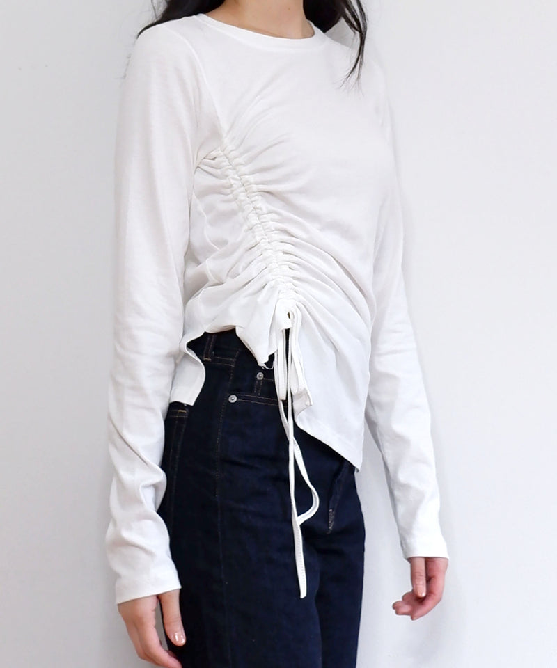 Ruched string asymmetric long sleeve top | The Dallant | Korean Fashion Designers