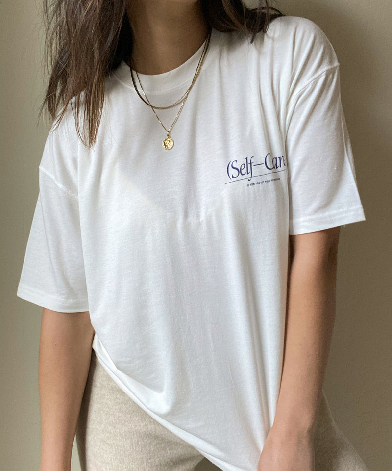 'Self-Care' basic t-shirt - White - Intentional Love - The Dallant